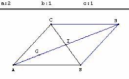 barycentre de (A, 2); (B, 1) et (C, 1)